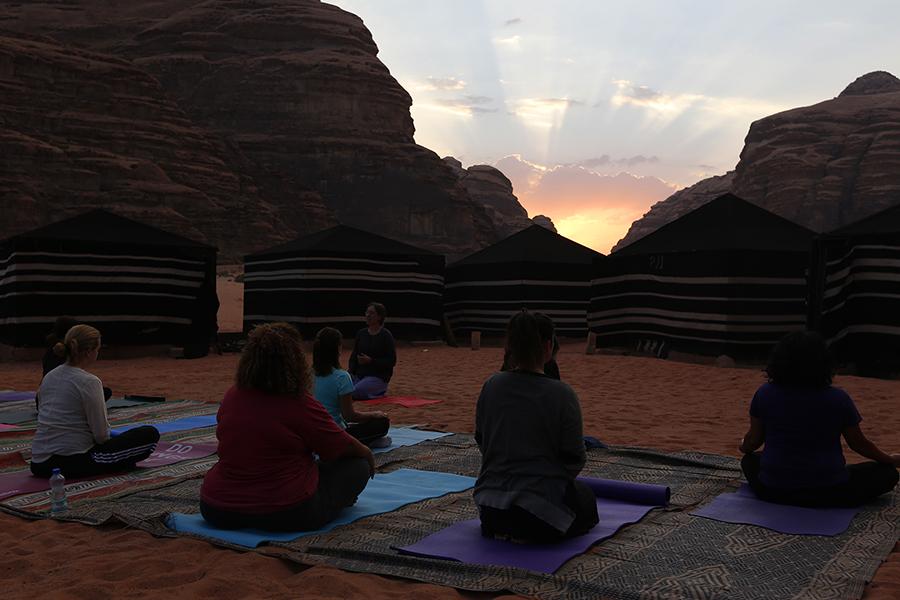Sunrise meditation desert